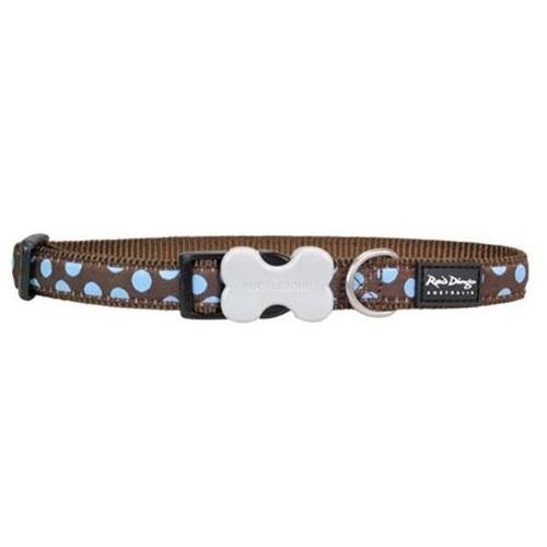 Red Dingo Dog Collar Blue Spots on Brown - Size Large