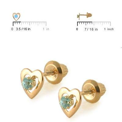 14K Yellow Gold Heart Birthstone Screw Back Stud Earrings For Girls Loveivy cegma-yg3803