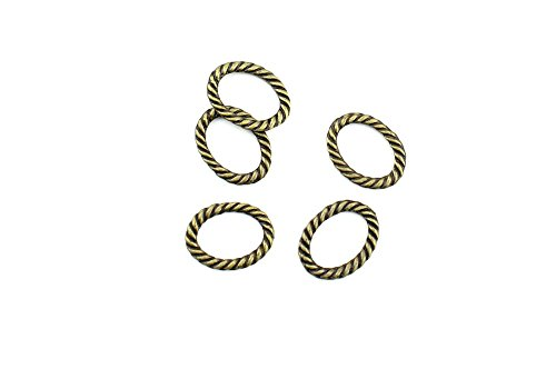 (Price per 830 Pieces Jewelry Making Charms VDRG0 Oval Twisted Circle Pendant Ancient Bronze Findings Craft Supplies Bulk Lots)