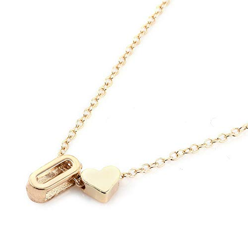 Hebel Women Gold Plated Initial Alphabet Letter A-Z Heart Pendant Chain Necklace Gift | Model NCKLCS - 31594 -