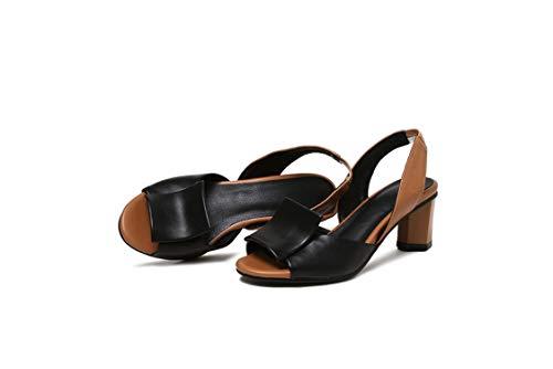 Women Sandals PU Leather Square High Heel Peep Toe Hollow Elastic,Black,11