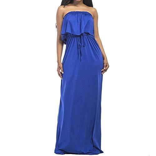 Largo Las Cintura De Grandes Zier Del Tubo Tirantes Maxi Mujeres Ocasional Elástico Azul Vestido La Tallas Sin n7Rw0qg