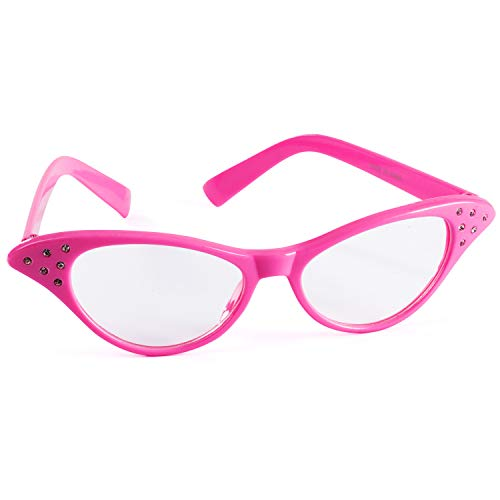 (Funny Party Hats Cat Eye Glasses - 50's & 60's Glasses - Pink Costume Glasses - Pink Ladies - Grease Costume - Retro Costume)