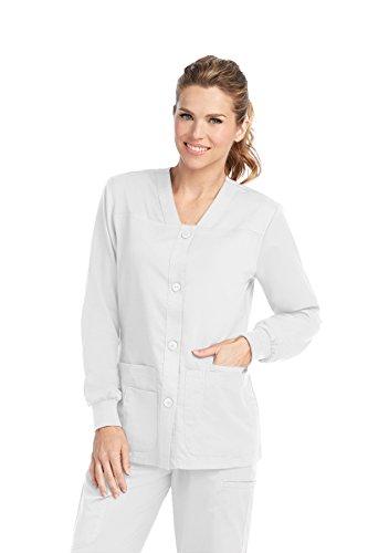 Grey's Anatomy Women's Junior Fit 4 Pocket Sport Button Front Scrub Jacket, White, (Grey Pocket)