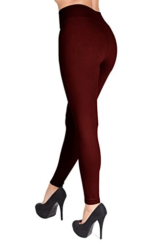 SATINA High Waisted Leggings – 22 Colors – Super Soft Full Length Opaque Slim (Plus Size, Burgundy) by Sejora (Image #2)