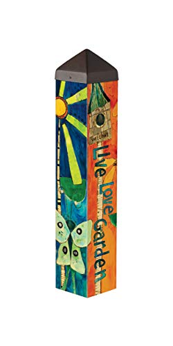Studio M Love Garden Art Pole Bold Floral Outdoor Decorative Garden Post, Made in USA, 20 Inches Tall