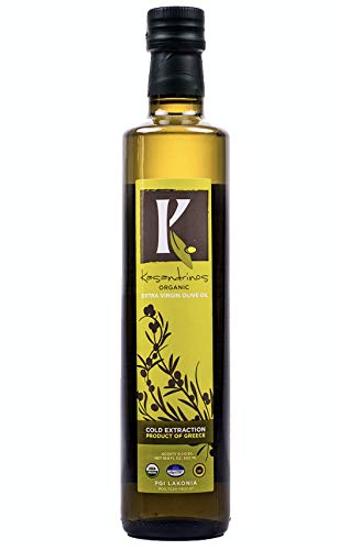 Organic Extra Virgin Greek Olive Oil by Kasandrinos - 2018/19 Harvest - NonGMO Keto Paleo, 100% Organic First Cold Pressed, Single Sourced from Greece Robust moisturizing