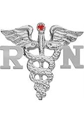 NursingPin - Registered Nurse RN Nursing Graduation Lapel Pin with Ruby in Sterling Silver