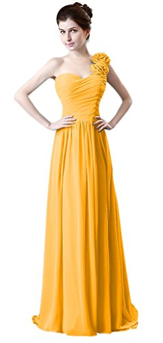 Yellow Daris Schulter drasawee Formelle Eine Rüsche Party Chiffon Lang Damen Brautjungfer Kleid fvpPvqxR