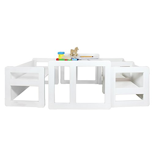 3 in 1 Childrens Multifunctional Furniture Set of 4, Two Small Chairs or Tables and One Small Bench or Table and One Large Bench or Table Beech Wood, White Stained by Obique Ltd