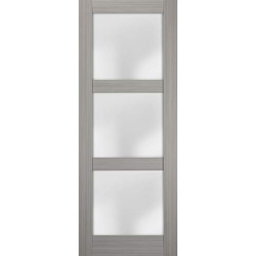 Slab Barn Door Panel Frosted Glass 24 x 96 inches | Lucia 2552 Grey Ash | Sturdy Finished Doors | Pocket Closet Sliding