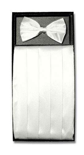 SILK Cumberbund & BowTie Solid WHITE Color Men's Cummerbund Bow Tie Set
