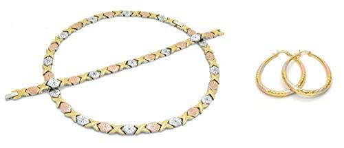 Bling Bling NY Womens Tri Color Hugs & Kisses Starburst Necklace Bracelet Medium Sized Oval Earring Set Stampato Stainless Steel Anti-Tarnish (Necklace 20'', Bracelet 7.5'' & Earring Set)