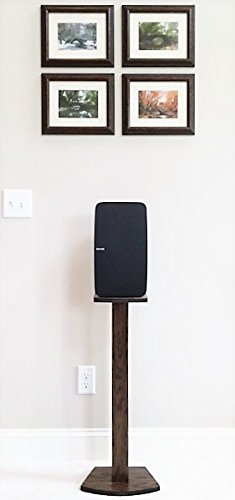 Beautiful Wood Speaker Stand Handcrafted for SONOS Play 5 (2nd Generation) Made in U.S.A. Single Stand. Dark Walnut Color.