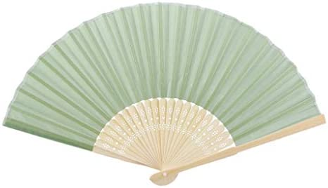 折りたたみ手のファン 中国の扇子ミニポータブル竹生地ハンドファンパーティーギフトファン (Color : Green)