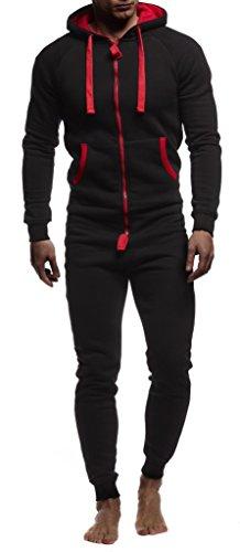 Leif Nelson Herren Overall Jumpsuit Onesie Trainingsanzug Jogginghose Trainings T-Shirt Fitness Stringer Bekleidung LN8154; Größe XL; Schwarz-Rot