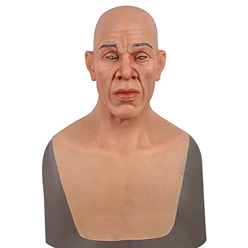 "Realistic Handmade Silicone Mask Old Man ""Boock"" Face for Halloween Costume Party Cosplay Crossdress Nude -"