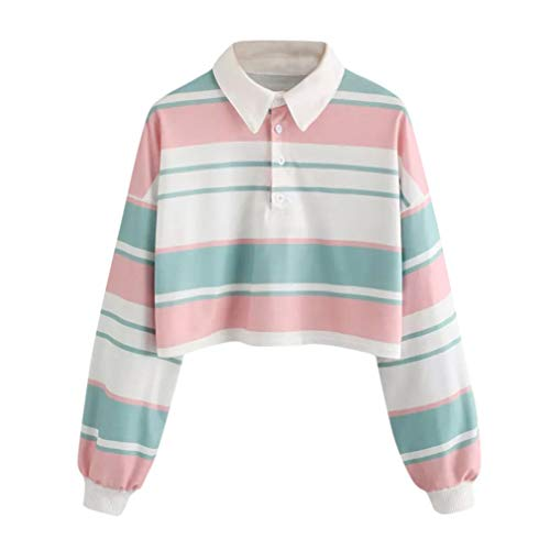 FDelinK Clearance! Women Casual Striped Polo Shirts Long Sleeve Button up Crop Pullover Sweatshirt Top (Multicolor, 2XL) by FDelinK