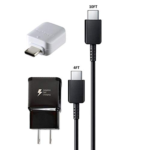Adaptive Fast Charging Charger Black - with 4FT C Type & 10FT C Type USB Cable + OTG C USB Adapter for Galaxy S8,S9,+,Note8,Note9 (US Combo Kit) ()