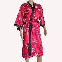 Women's 100% Thai Silk Kimono- Scarlet Red Oriental Dragon Design (SIZE MEDIUM 34-36)