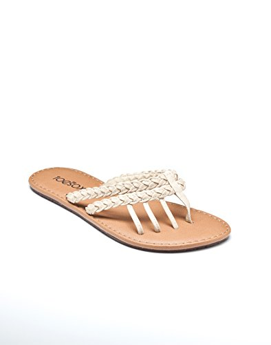 toesox Women's Mazzy Five Toe Leather Sandal (Bone) Size 10