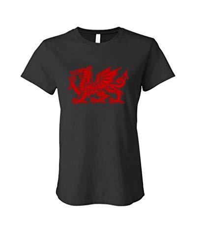 - Welsh Dragon - Wales UK England - Ladies Cotton T-Shirt, S, Black