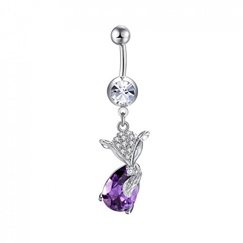 Belly Ring Fox Shaped Zircon Navel Ring Anti-Allergy Copper Plating Body Piercing Ring Jewelry for Women Ladys Girls(Purple)