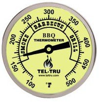 Aluminum Thermometer (Tel-Tru BQ300 Barbecue Thermometer, 3 inch aluminum zoned dial, 4 inch stem, 100/500 degrees F)