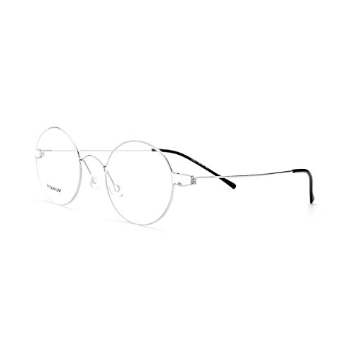 FONEX Men Memory Titanium Alloy Round Glasses Frame Screwless Eyewear 98607 (silver, 48)