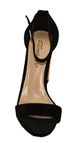Breckelles Womens Devie-04 Bout Ouvert Bride De Cheville Ajustable Velours Chunky Ronde Haut Talon Sandales Noir