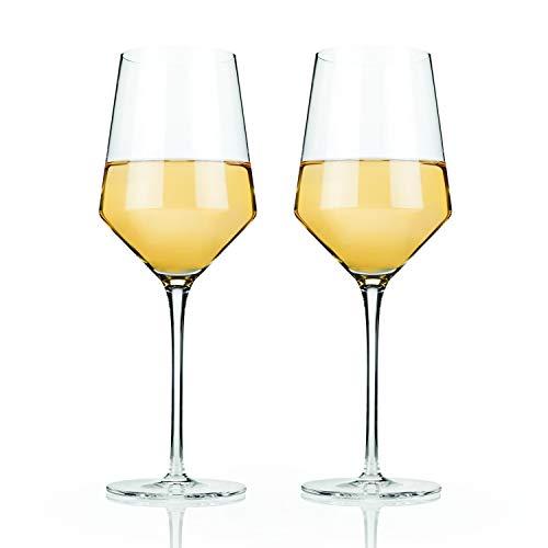 Viski Raye: Crystal Chardonnay Glass Set, Clear