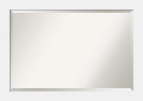 Amanti Art Framed Corvino White Solid Wood Wall Mirrors, Glass Size: 24 x 36, Black