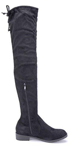 Schuhtempel24 Damen Schuhe Overknee Stiefel Stiefeletten Boots Blockabsatz Nieten/Zierschleife 3 cm Schwarz