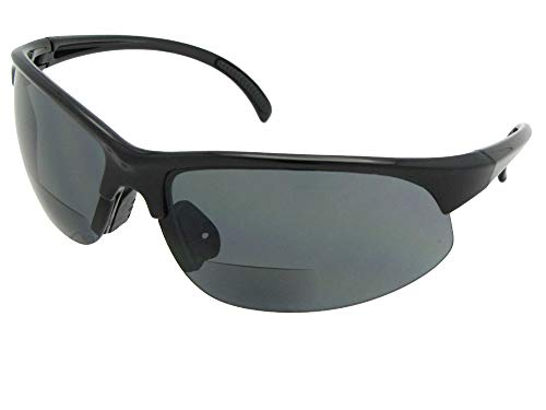 Style B33 Sports Bifocal Sunglasses With Sunglass Rage Pouch (Shiny Black Frame-Gray Lenses, 1.50)