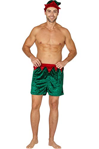 Intimo Men's Velour Holiday Boxers with Hat, Green, Medium -
