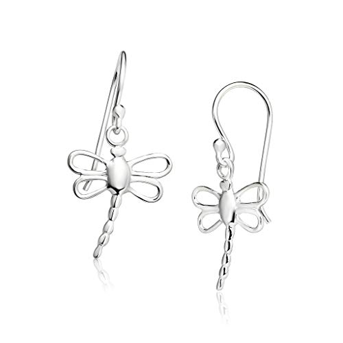 Silver Earring Dragonfly - Big Apple Hoops - Genuine 925 Sterling Silver ''Beauty of Nature'' Lively Dragonfly Animal Dangle Hook Earrings Delicate and Unique Design in Beautiful Polish Finish