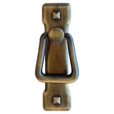 - PM-203 Small Antique Brass Vertical Mission Drawer Pull Handle Antique Cabinet, Desk OR Any Vintage Furniture Reproduction Restoration Hardware + Free Bonus (Skeleton Key Badge) (1)