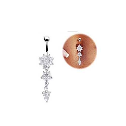 Dolland Crystal Rhinestone Navel Dangle Button Belly Ring Bar Body Piercing Jewelry,Silver