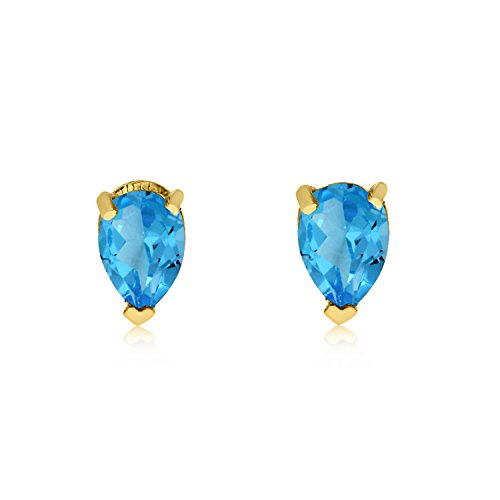 Jewels By Lux 14k Yellow Gold Studs Genuine Blue Birthstone Blue Topaz Pear-Shaped Earring (1/2 Cttw.) (Pear Topaz Shaped)