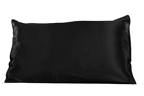 TexereSilk Solid Silk Pillowcase (Single Pack, Black, King) Gift Ideas for Christmas Chanukkah HS0001-BLK-K