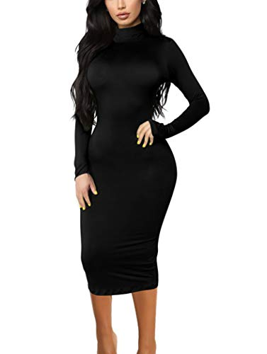 GOBLES Women's Sexy Long Sleeve Casual Bodycon Midi Elegant Cocktail Party Dress