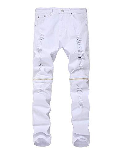 Da Vestibilità Distrutti Skinny Uomo Pantaloni Denim Strappati Cerniera Huixin Jeans White1 Elastica In Con A Regolare Casual qtWXnT7w