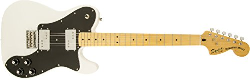 Squier by Fender Vintage Modified Telecaster Electric Guitar Deluxe - Olympic White - Maple Fingerboard (Fender Squier Bridge compare prices)