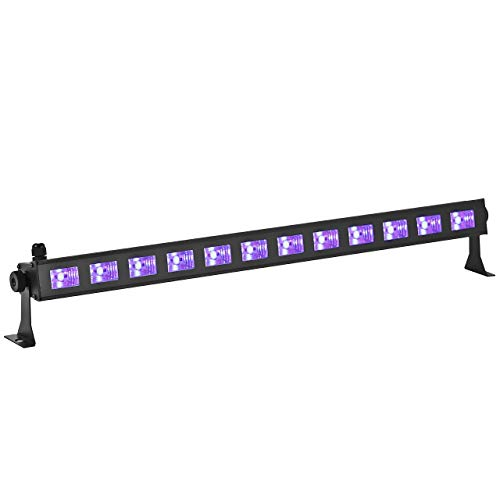 Eyourlife UV Black Lights 36W 12 LED Blacklight Effect Bar for Party Dj Disco Stage DJ Lighting in Metal Housing
