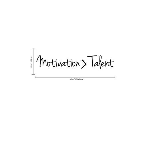 Inspirational Quotes Wall Art Decal - Motivation Is Greater Than Talent - 6'' x 40'' Work Office Wall Decals - Gym Fitness Wall Decal Stickers - Home Decor Sayings Wall Art Removable Lettering Decals by Pulse Vinyl (Image #2)