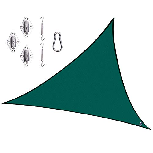 Cool Area CAS-18504-G Triangle 11 Feet 5 Inches Sun Shade Sail with Stainless Steel Hardware Kit, Green