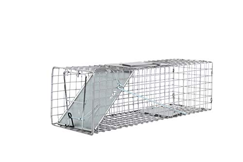 "Medium One Door Catch Release Heavy Duty Cage Live Animal Trap for Cats, Rats, Raccons, Rabbits, Skunks, Squirrels, and Other Similar Sized Animals, 24""x7""x7"""