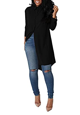 Women's Solid Casual Loose Long Sleeve Collar Neck Button Down Chiffon T-Shirt Blouse Tops