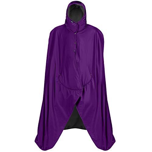 Purple Stadium - Mambe Extreme Weather 100% Waterproof/Windproof Hooded Blanket with Premium Stuff Sack (XL-Tall, Purple-Black)