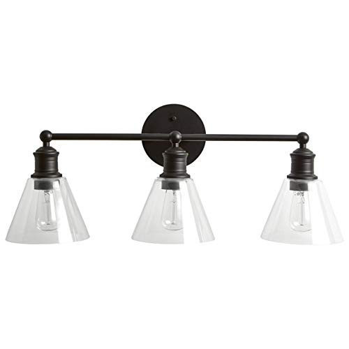 Rivet Industrial Bathroom Vanity Fixture With 3 Edison Light Bulbs - 35 x 7.5 x 10.3 Inches, Matte Black with Glass Shade (Light Wall Fixture 3 Bulbs)